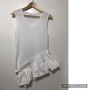 Tops - white tank with ruffle detail Xs-S